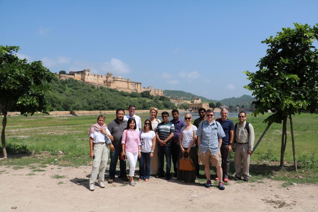 Our team below Amer Fort: Ottavia, Léon, Silvia, John, Alé, Natasja, Satish, Sridi, Anna, Sireth, Preston, myself and Mark