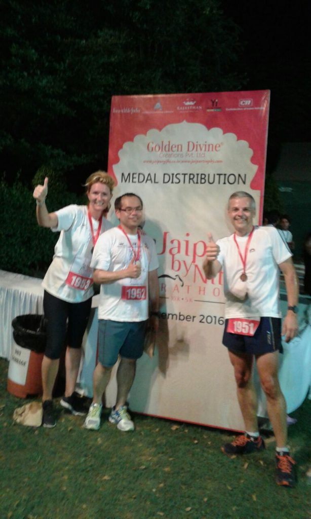 Happy finisher of Jaipur by nite marathon: Natasja, Mar & Markus